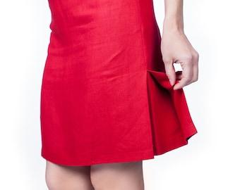 Red Linen Skirt A-Line