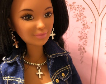 Barbie Silver Necklace & Earrings With Cross + Bracelet Fits Most Barbie Dolls