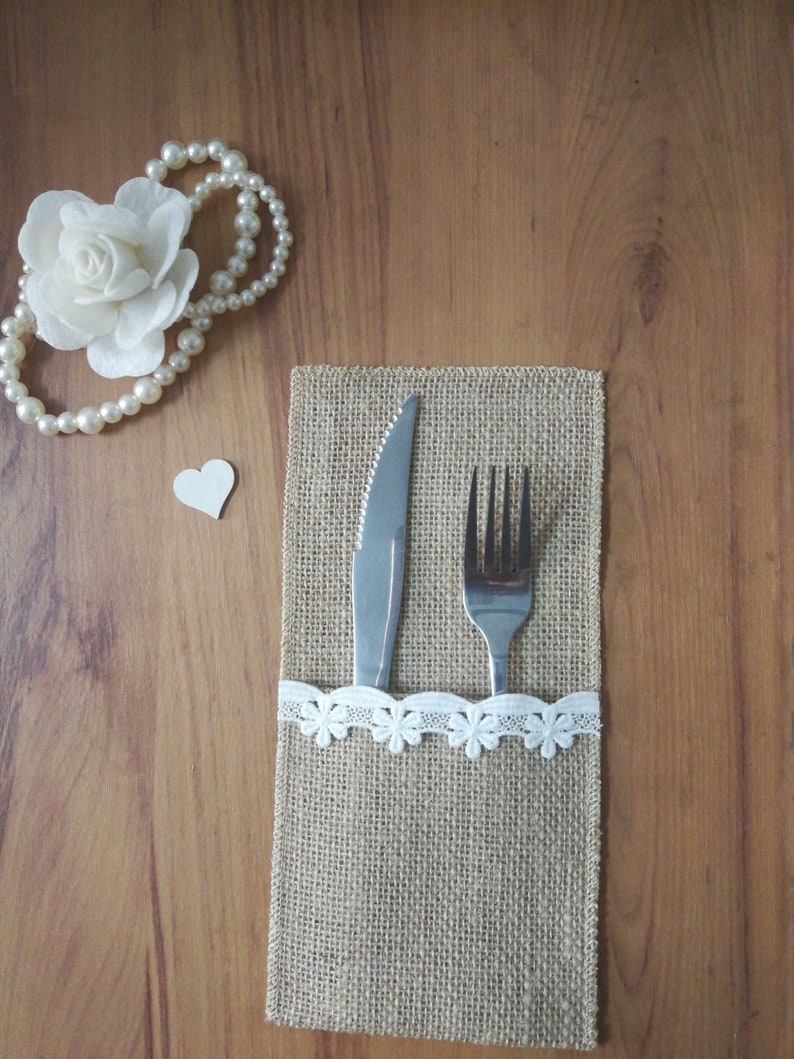 Set of 10 pcs,Burlap and lace cutlery bag,Cutlery bag,Burlap Cutlery Bags,Burlap Silverware Holders,Burlap Cutlery Holder Y3040