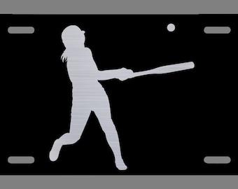 12-Inch By 6-Inch Vincit Veritas Softball Black Etched License Plate Premium Quality LP018