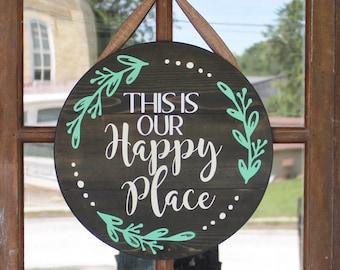 Made to Order Happy Place Mesh WreathFront Door WreathEverydayWelcomeSummerSpringYear RoundTurquoise WreathHousewarming GiftWedding