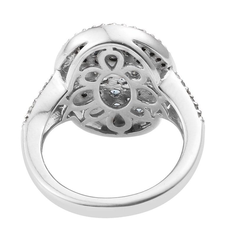 Santamaria Aquamarine Stones Exquisite Sterling Silver Ring With Rhodium Plating And Natural White Zircon