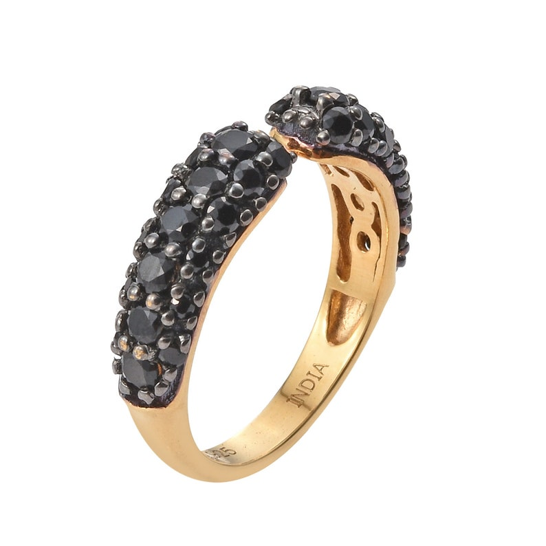 Yellow Gold Overlay  Plated Sterling Silver Ring With Polished Black Spinel Gemstones