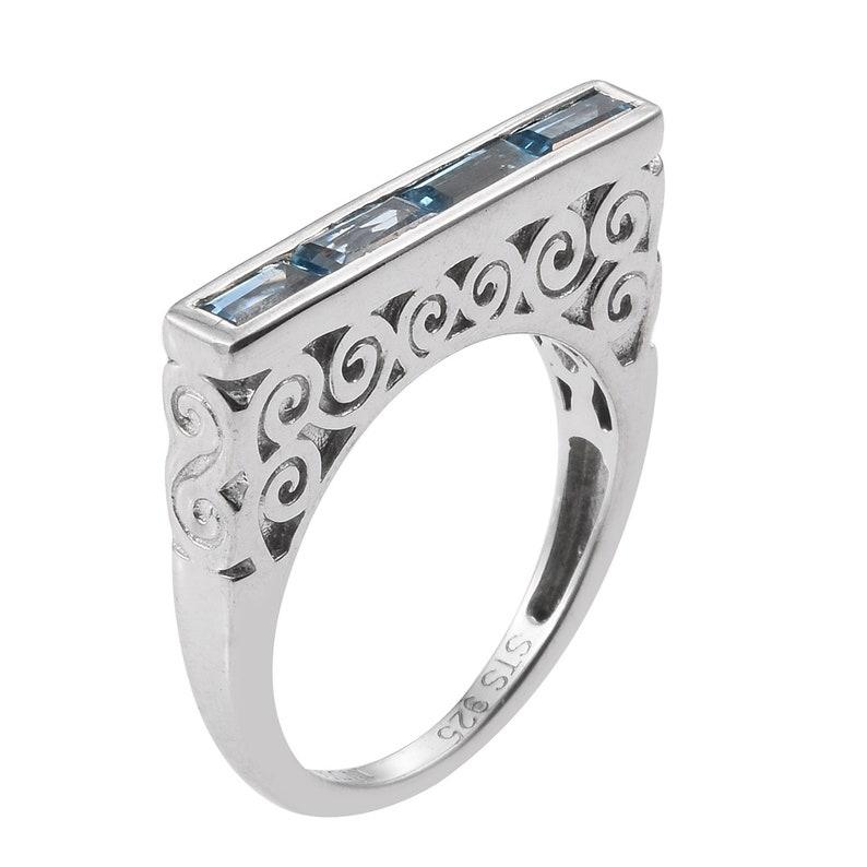 Square Half Eternity Swiss Blue Topaz Ring Set In Rhodium