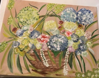 """Acrylic painting.Handmade.Flat Canvas.""""Basket with flower"""""""