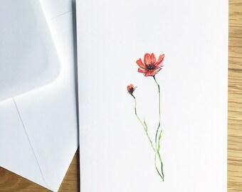 Poppy gift card, hand painted original art work / military gift card