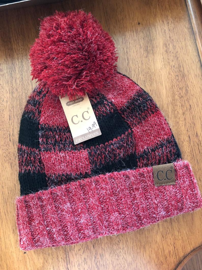 aa6b33b11 CC Red/Black beanie -- fleece lined