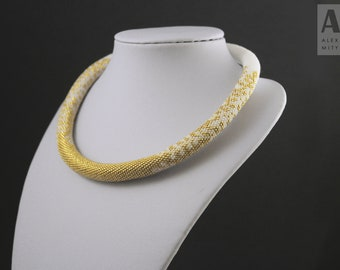Bead Crochet Necklace - Rope bead crochet necklace - Bead crochet rope - Floral bead necklace - Rope bead necklace - Choker bead crochet