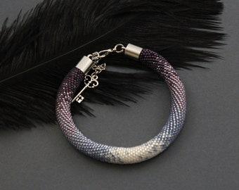 Bead Crochet bracelet - Beaded bracelet - Bead crochet rope - Gradient bead bracelet - Rope bead necklace - bead bracelet