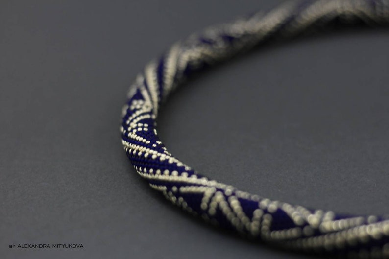 Rope bead necklace Rope bead crochet necklace Geometric bead necklace Choker bead crochet Bead crochet rope Bead Crochet Necklace