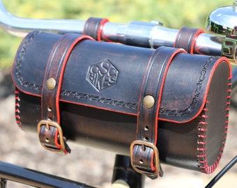 Handmade Leather Bicycle Saddle Bag , Leather Bike Bag , Leather Saddlebag , Bicycle Tool Bag , Cycling Bag, Handlebar Bag, Vintage Bag,