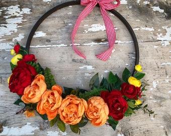 "18"" Hoop wreath. Generous not only in size but in beauty. Farmhouse style"