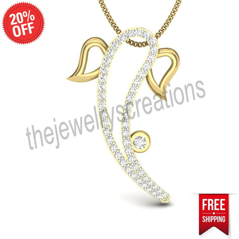 14 k yellow gold precious godly lord religious ganesha pave diamond designer pendant divine fine jewelry for women