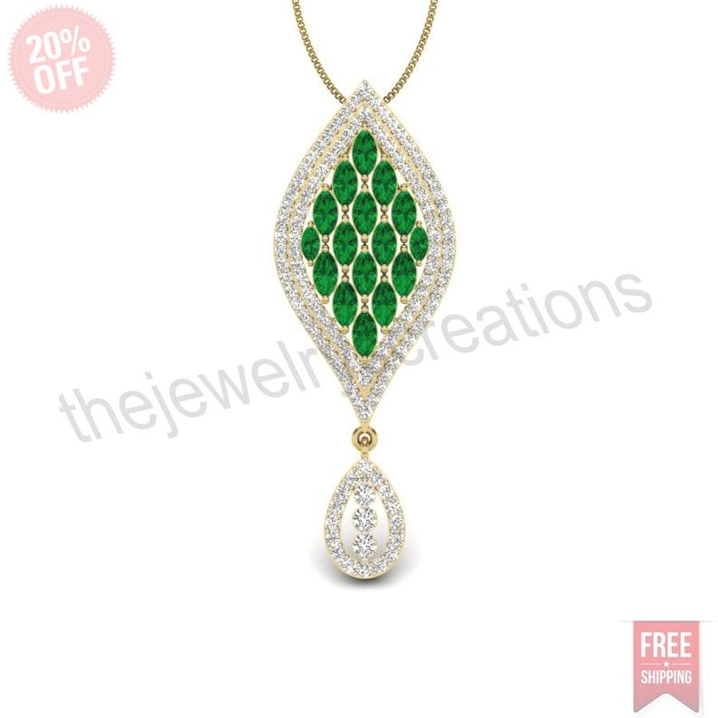 14 k yellow gold stunning emerald gemstone cz diamond designer pendant beautiful fine jewelry for women