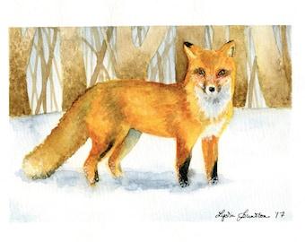 Fox in Snow Watercolor Print Wall Art - Winter Fox