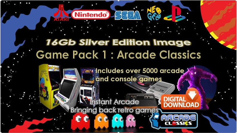 RetroPie 16Gb Silver Edition Image (download) - NEW Latest Version from  InstantArcade for Raspberry Pi 3b/b+