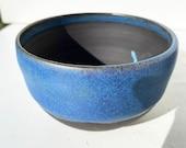 Half Blue Glazed Black Stoneware Hanging Pot for Macrame Hanger