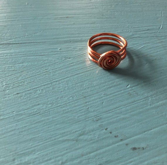 Handmade Copper Wire Spiral Ring | Etsy