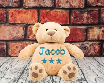 Personalised Embroidered Name Dob Star Bear Birthday Gift Kids Etsy