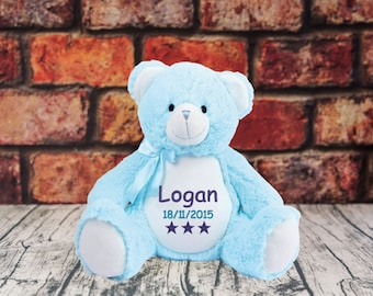 Personalised Embroidered Name Dob Star Owl Birthday Gift Kids