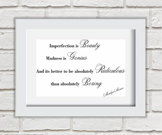 MARILYN MONROE QUOTE PRINT A4