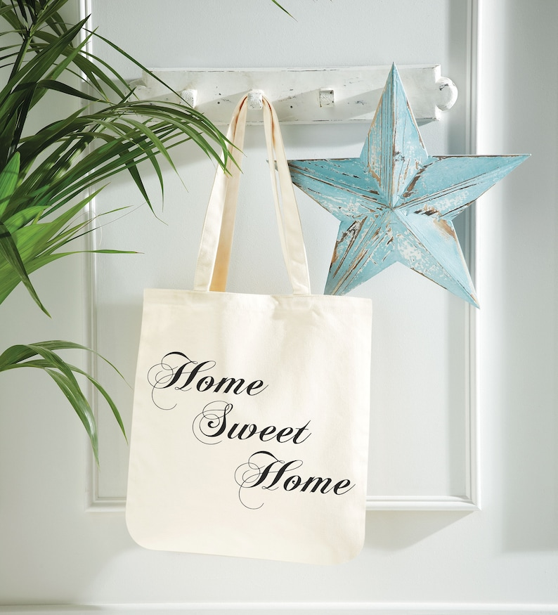 Home Sweet Home Quote Canvas Tote Shopping Bag Cotton Printed Shopper Bag Gift Grocery Fashion Tote Shoulder Bag