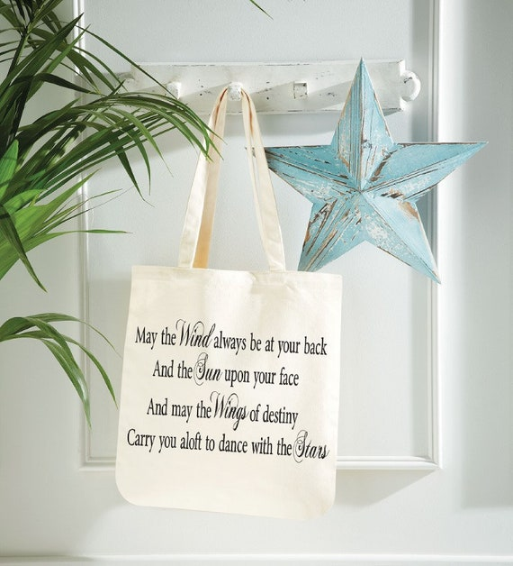May The Wind Be At Your Back Quote Canvas Tote Shopping Bag