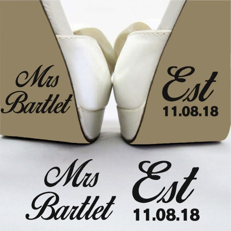 Name EST Wedding Shoe Sticker Decal Funny Brides Removable Vinyl Day Bridal  Shoe Sticker Decoration Personalised Personalized Transfer