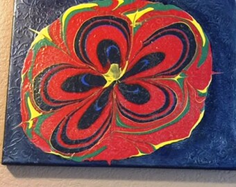 Flower , canvas, acrylic pour