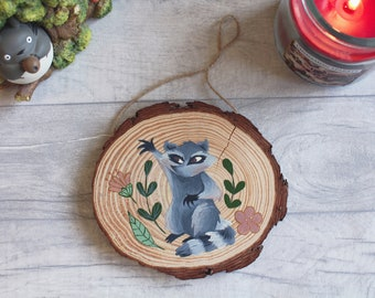 Raccoon character illustration original painting on wood slice wall art