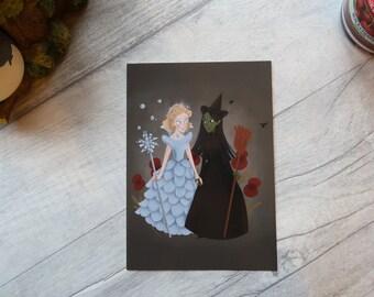 Glinda & Elphaba (Oz/Wicked) art print postcard