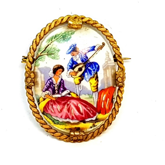 Vintage Brooch/Limoges Brooch/French Brooch.Limoge