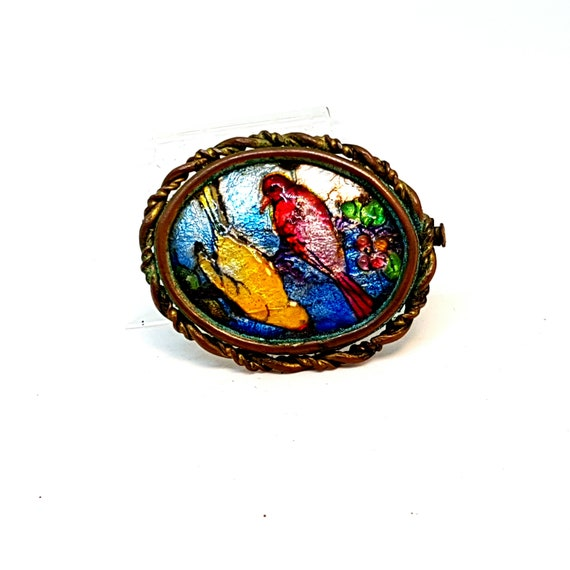 Limoges brooch. Limoges porcelain brooch. Bird bro