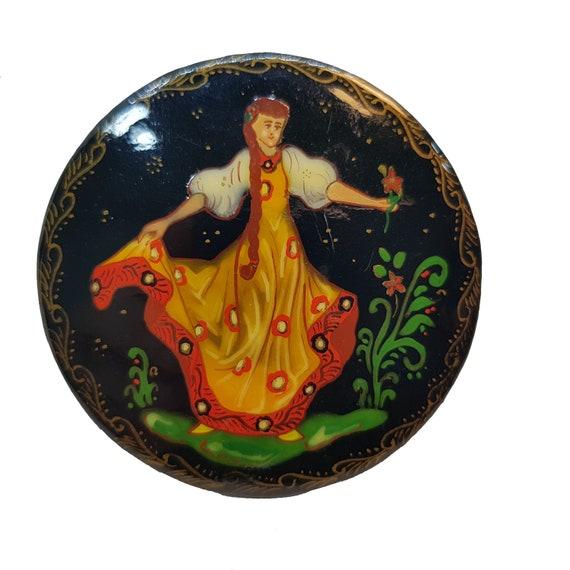 Russia Folk Brooch. Russian lacquer brooch. Russia