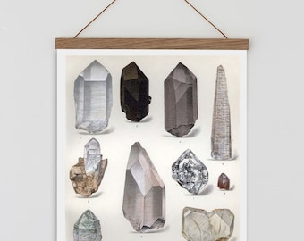 Crystal wall art,Vintage crystal illustration, boho wall decor, quartz crystal watercolour print, bohemian wall art, minimalist wall art,