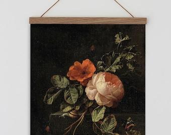 Vintage flower painting. Old Dutch Vintage Flower painting.  Vintage flowers with dark background. Vintage botanical wall art. Vintage Roses