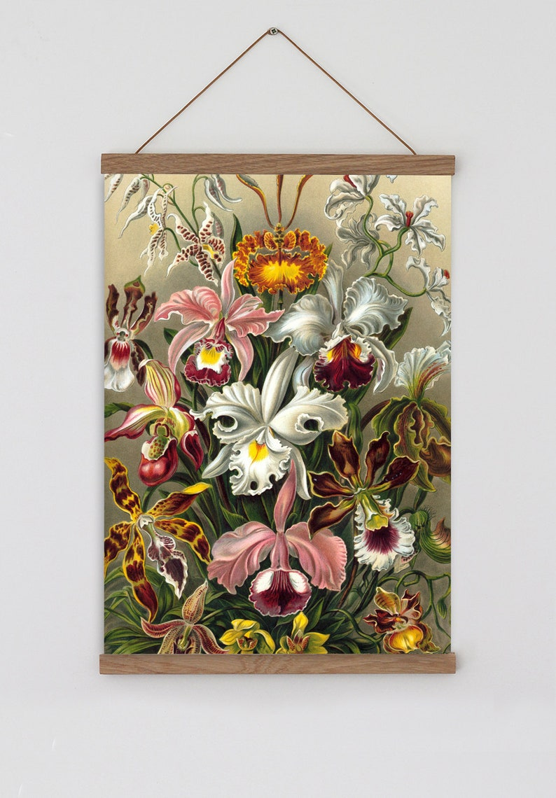 Vintage orchids art print orchid wall art vintage flower painting bohemian art print vintage floral wall art vintage floral boho decor