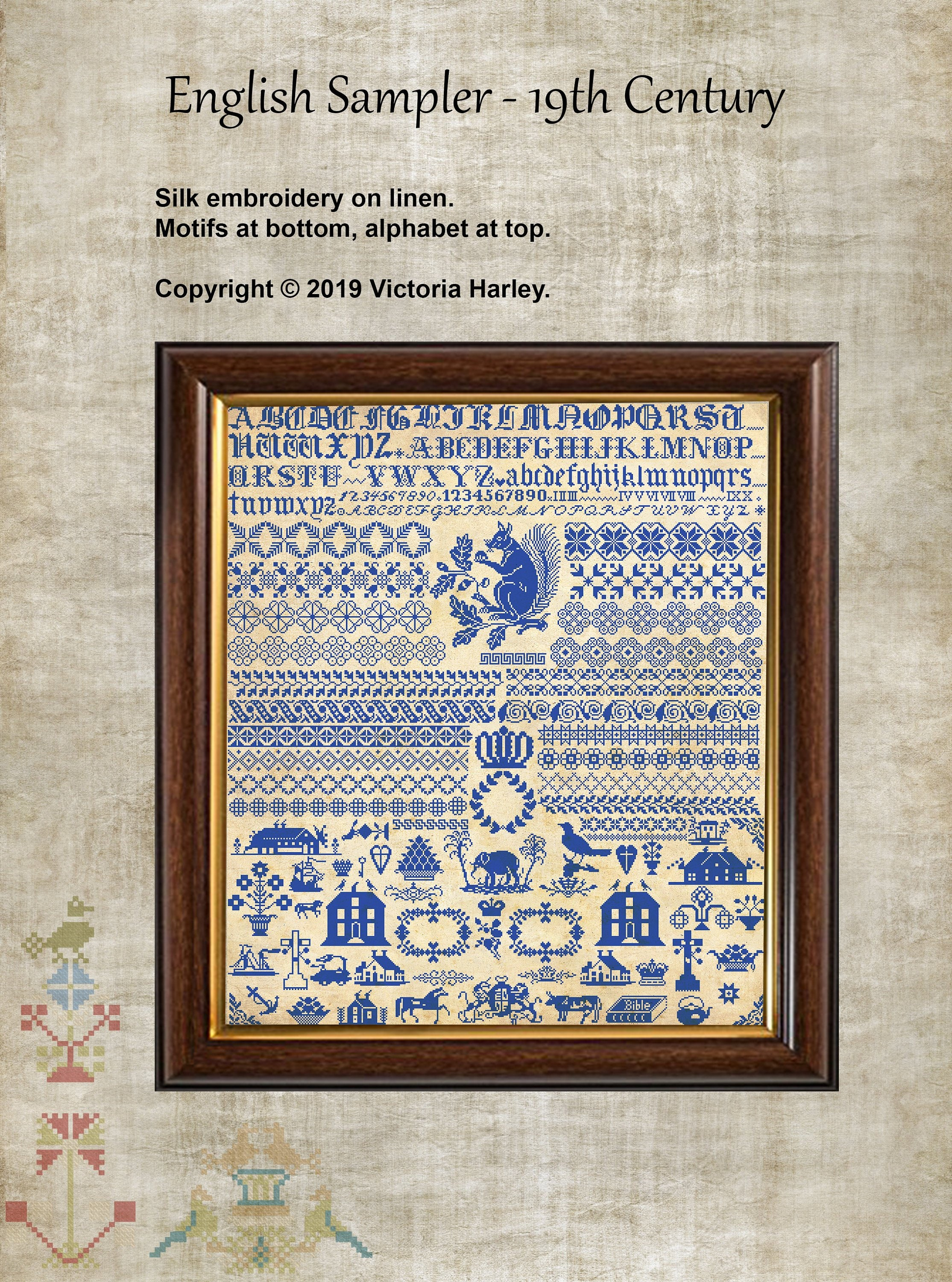 Antique English 19th Century Sampler Reproduction Cross Stitch Counted  Chart PDF Instant Download Unique Easy to Make Vintage English Harley