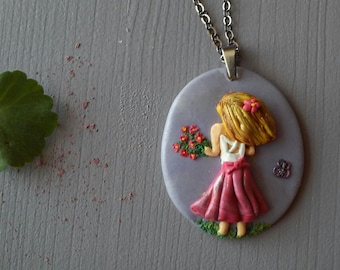 The Girl with a Bunch of Flowers, Polymer Clay Pendant, Miniature, Little Flowers, Pink Dress, Grass, Fimo Painting