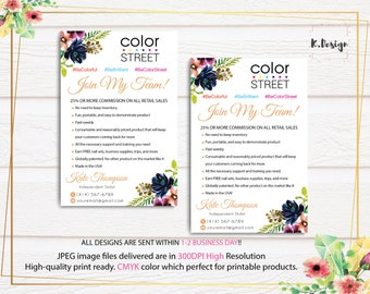 Personalized Color Street Join My Team Card, Color Street Flyer, Color Street Nail Polish Cards CL02