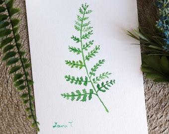 Watercolor Fern Leaf Painting