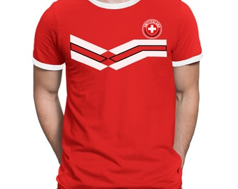 ce3450ac7 SWITZERLAND World Cup 2018 Mens T-Shirt FOOTBALL Retro Style Strip
