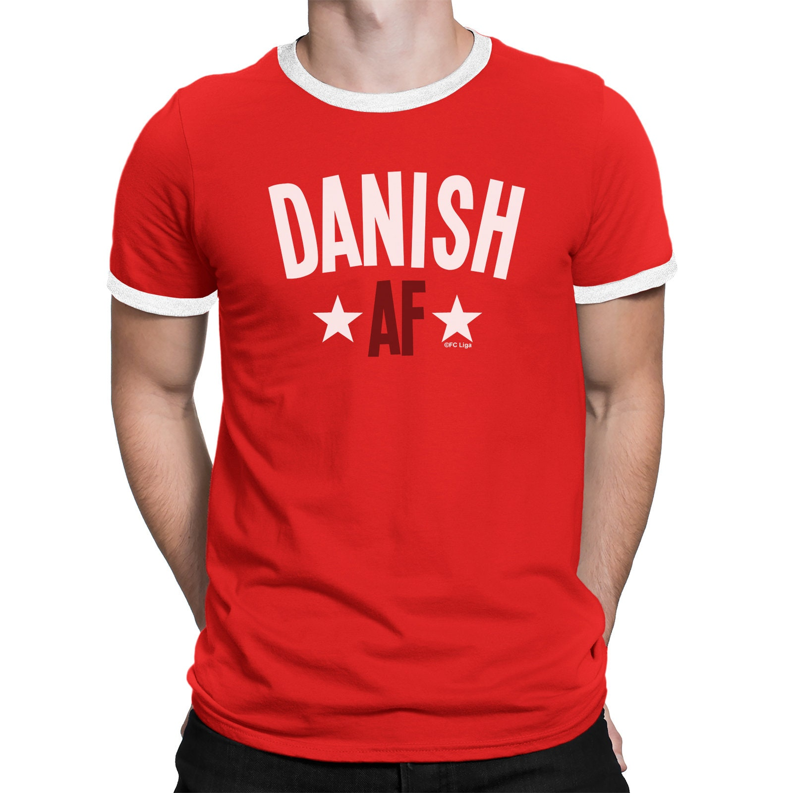 34e579512 DANISH AF Mens Denmark T-Shirt FOOTBALL World Cup 2018 Sports