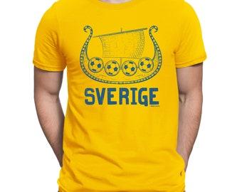 Mens T-Shirt SVERIGE Viking Boat SWEDEN World Cup 2018 Football Patriotic Retro