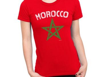 Womens T-Shirt MOROCCO Star World Cup 2018 Football Patriotic Retro Africa