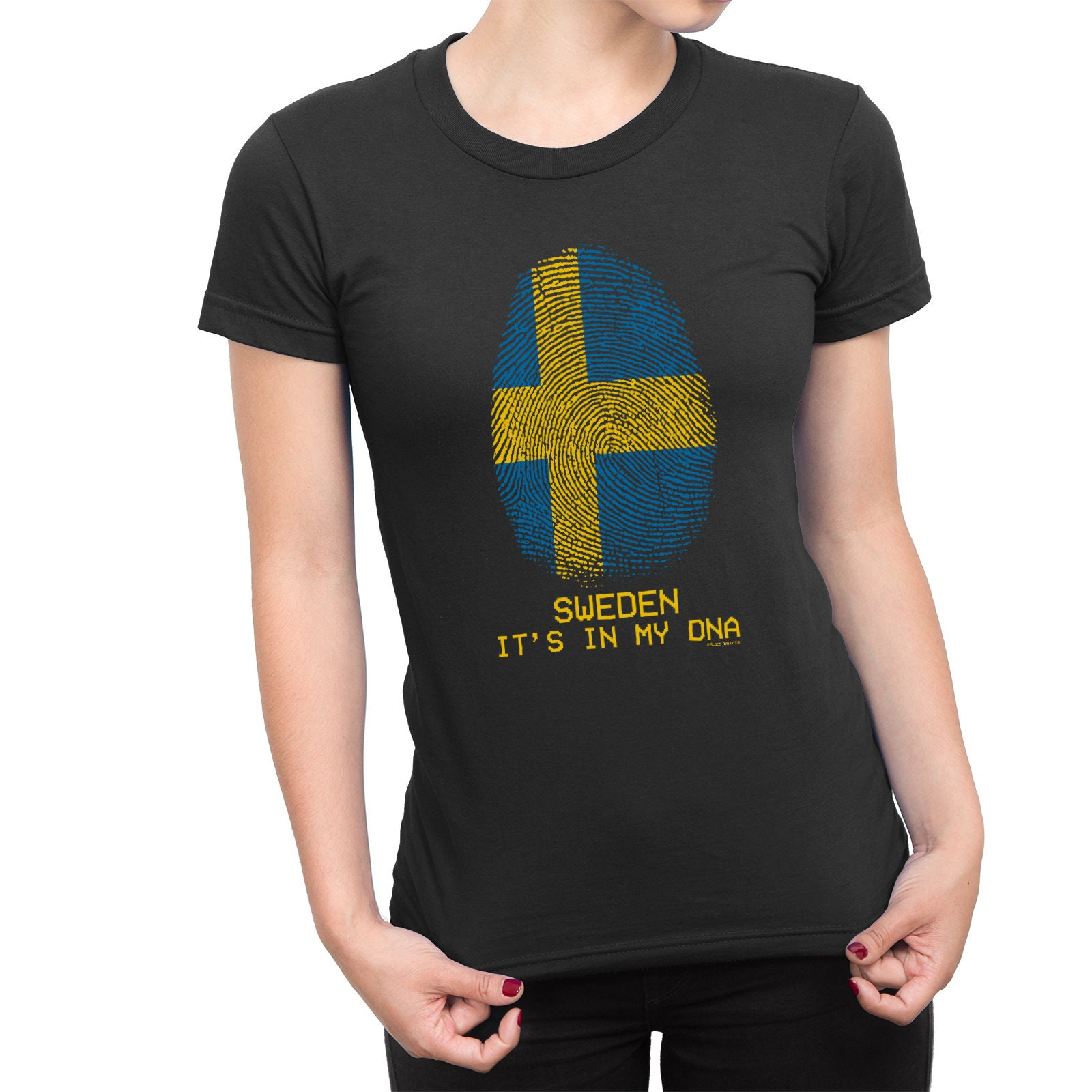 317d1225a290 LADIES T-Shirt SWEDEN Sverige Its in my DNA Womens Football