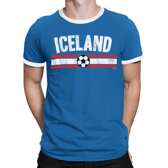 b07405d12 Mens ICELAND Distressed Country Football T-Shirt World Cup