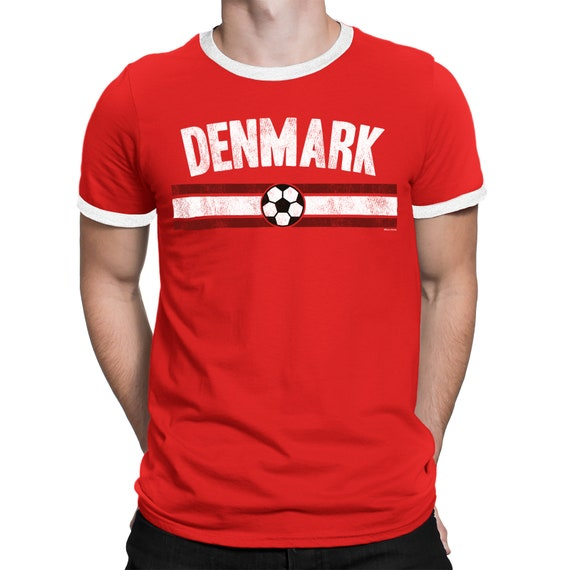 wholesale dealer 58aa9 16db1 Mens DENMARK Distressed Country Football T-Shirt World Cup 2018 Retro Sports