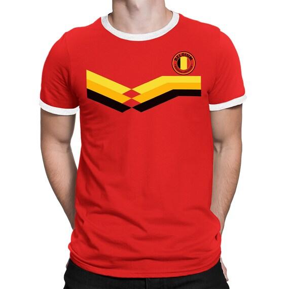14de1fc75 BELGIUM World Cup 2018 Mens T-Shirt FOOTBALL Retro Style Strip