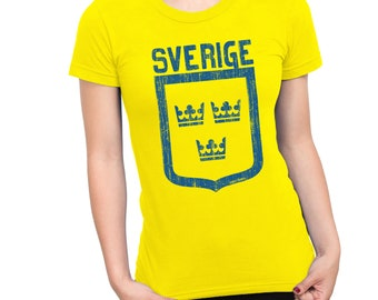 Womens T-Shirt SVERIGE Crowns SWEDEN World Cup 2018 Football Patriotic Retro